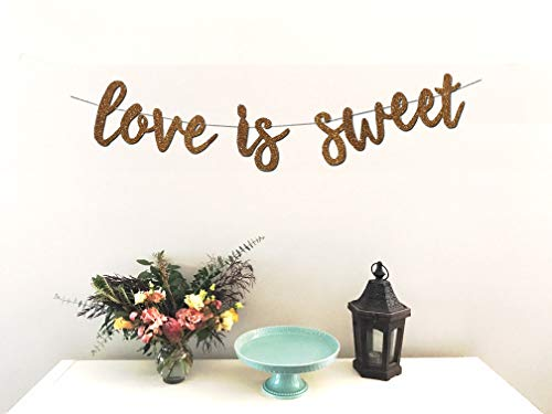 Love is Sweet Banner - Perfect Decoration for Engagement, Wedding, Anniversary, Valentine's Day Party, Bridal Shower - Beautiful Sparkling Rose Gold Cardstock Paper