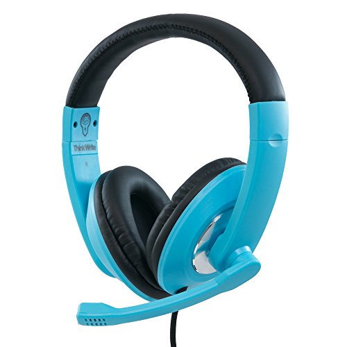 ThinkWrite Premium Headset for Apple iPad, Google Chromebook, Kindle Fire, Android Tablet and Laptops (Black) (Sky Blue)