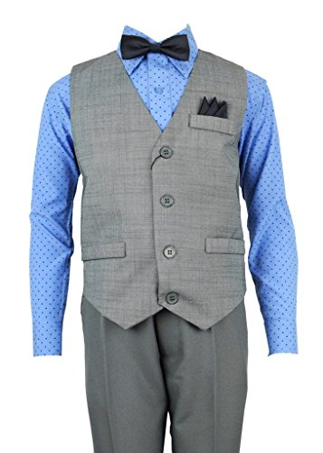 Vittorino Boys 4 Piece Holiday Suit Set with Vest Dress Shirt Tie Pants and Hankerchief,Grey/ Blue Polkda Dot,12 (Holiday Vest Boys)