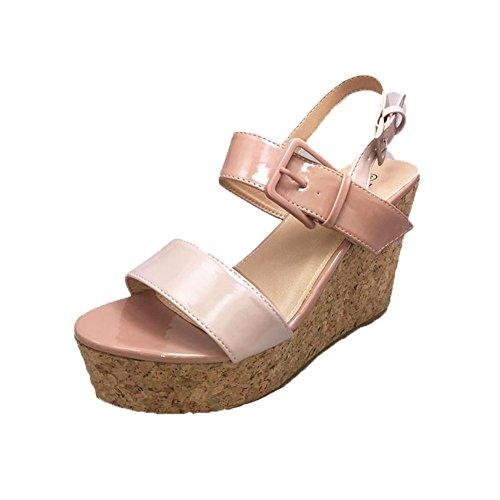 SendIt4Me Ladies Strappy Open Toe Flatform Wedge Sandals Beige AwwoI2aWZI
