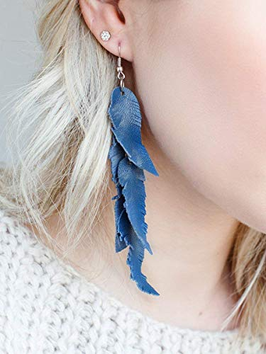 Blue jeans leather Feather Earrings, layered earrings, tribal Earrings, Boho earrings, dangle earrings, long - Denim Feathers