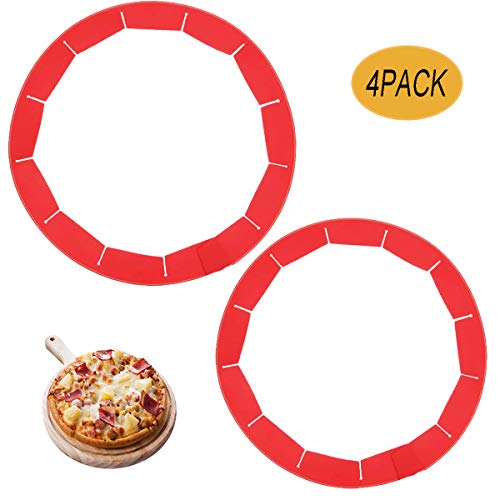 Adjustable Pie Crust Shield, Silicone Pie Crust Shield,Silicone Pie Protectors for Pie, Pizza,Baking, Durable & Reusable Pie Edge Protector,4 Pack of Bake Crust Protector (Red)