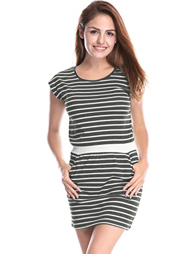 Pockets Stripes Round K White Women's Gray Mini Waist Contrast Dress Neck Allegra qp0OU0