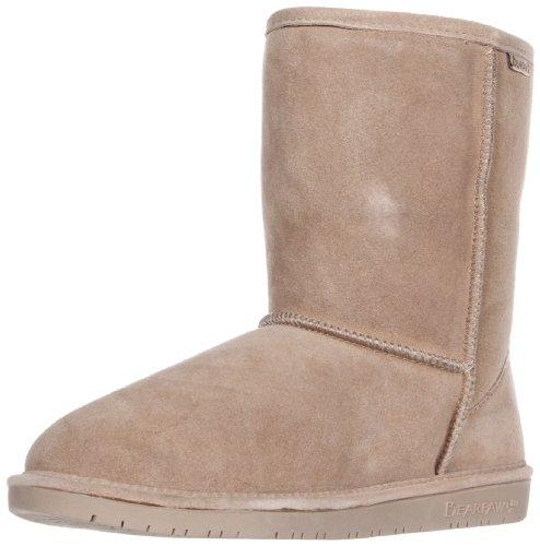 Bearpaw Womens Emma Short 8-Inch Suede Sheepskin Boot, Camel, US 6