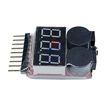 2 in 1 Li-ion RC Lipo Battery Low Voltage Alarm 1S-8S Buzzer Indicator Checker Tester LED Display Board Module