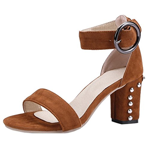 TAOFFEN Fashion Sandals Women Strappy Brown Block Heel rq0wHOxqF