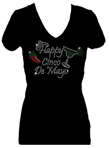 [Happy Cinco de Mayo Rhinestone Party V Neck Short Sleeve Tee Shirt (1X)] (Cinco De Mayo Dress)