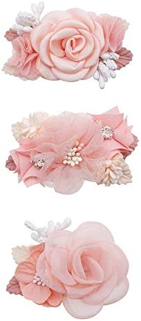 Flower Hair Clips Set-Cherrboll 3pcs Floral Hair Bow Accessories for Baby Girl Toddles Teen Gifts