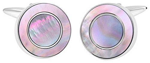 - David Van Hagen Mens Shiny Circle Smoked Mother of Pearl Cufflinks - Pink/Silver