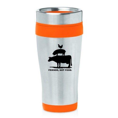 16oz Insulated Stainless Steel Travel Mug Friends, Not Food Vegan Farm Animal Rights (Orange)