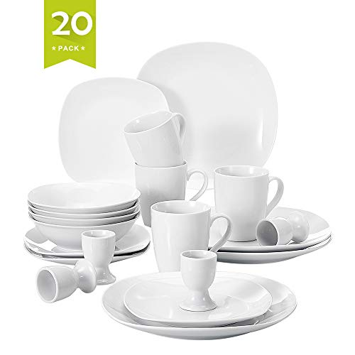 (Malacasa 20 Piece Porcelain Dinnerware Set, Square Dinner Plates Soup Bowl Dessert Plate, Cups and Egg Stand, Service for 4, Ivory White, Series Elisa)