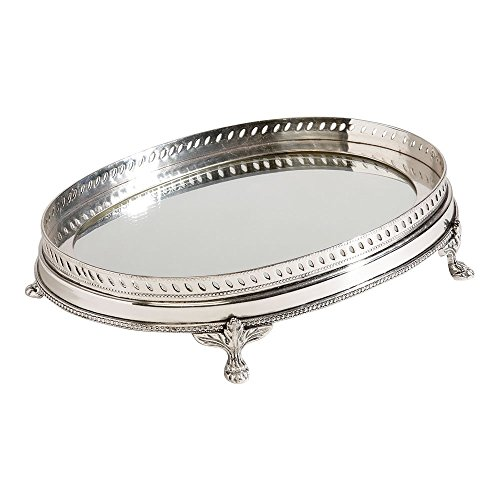 Ethan Allen Oval Mirrored Tray, Silver (Beaded Vanity Set)