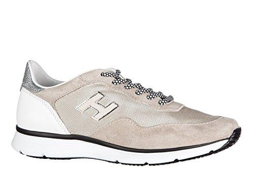 Hogan scarpe sneakers donna camoscio nuove h254 beige