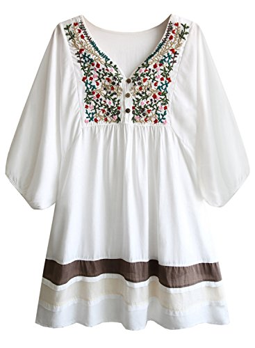 Amy Babe Mexican Floral Embroidered Peasant Flowy Blouse Dressy Tunic Tops