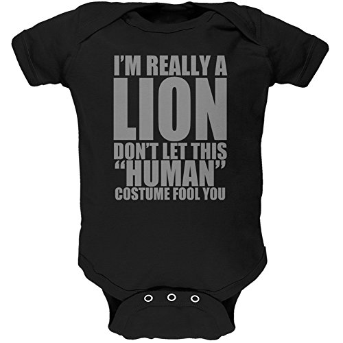 Halloween Human Lion Costume Black Soft Baby One Piece - 6 month -
