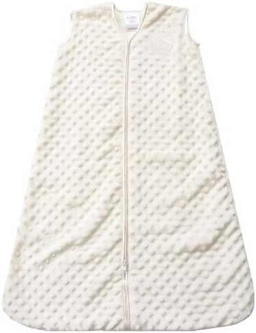 HALO SleepSack Plush Dot Velboa Wearable Blanket, Cream, Small