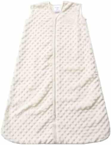 HALO SleepSack Plush Dot Velboa Wearable Blanket, Cream, Medium