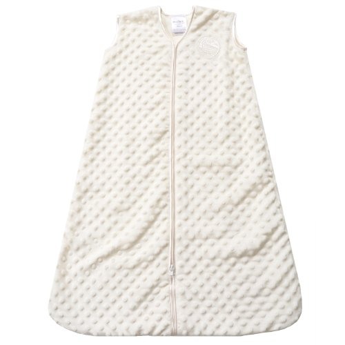 HALO SleepSack Plush Dot Velboa Wearable Blanket, Cream, Small