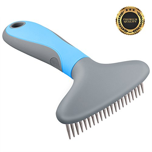 MOSTY Pet Grooming Brush, Long Stainless Steel Comb Teeth With Massage Function for For Cat & Dog Long & Short