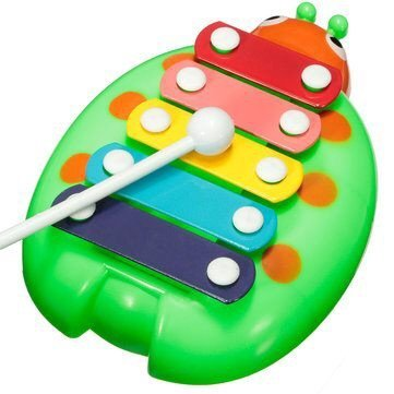 Baby Children Kids Beetle 5 Note Xylophone Musical Instrument Wisdom Smart Early Educational Development Toys /green