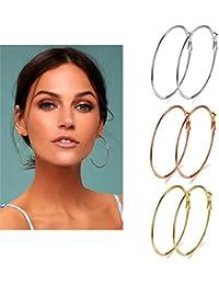 3 Pairs Big Hoop Earrings, Stainless Steel Hoop Earrings in Gold Plated Rose Gold Plated Silver for Women Girls