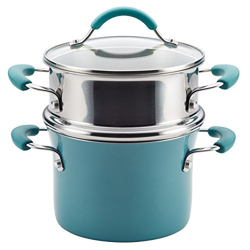 Rachael Ray Cucina Hard Porcelain Enamel Nonstick Multi-Pot/Steamer Set, 3-Quart, Agave (Covered Casserole Pan)
