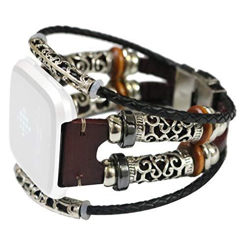 Kecar Premium Retro Replacement Strap Leather Wristband Band Strap Bracelet Strap Band for Fitbit Versa/Versa Lite,Women, Girl, Work, Ladies (Coffee)