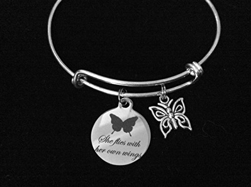 She Flies With Her Own Wings Butterfly Adjustable Bracelet Expandable Silver Charm Bangle Inspirational Gift Personalization Customization Options Available