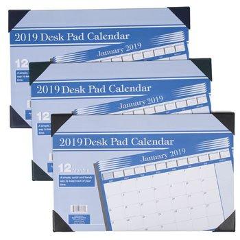 amazon com calendar desk pad 2019 11x17 12month 3ast color 36pc