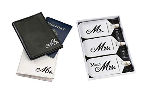 Mr. and Mrs. Passport Covers and Luggage tags Gift Set