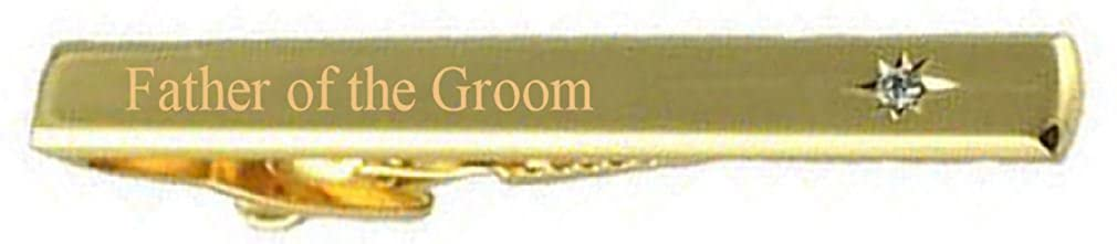 Select Gifts Father of The Groom Wedding Title Gold Tie Clip Bar Clear White Crystal in Pouch