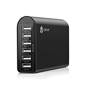 iClever® 6-Port 50W 10A Fast USB Desktop Charger / USB Travel Wall Charging Station with SmartID Technology for iPhone 6 plus, 6, 5S, 5C, 5,4S; iPad Air 2, Air, Mini3, Mini; Samsung Galaxy S5 S4 S3, Note 4 3 ; Nexus; HTC One, 2 M8 and more - Black