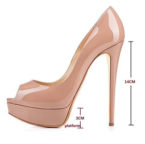 Slip Court Heel Beige Stilettos Soireelady 14cm Peep Toe Platform On Pumps Shoes Womens High xwHUYqB