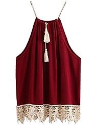 OVERMAL Blouse Sleeveless 2018 Women Lace Trimmed Tasselled Drawstring Blouse Tank Tops Spaghetti Strap T Shirt