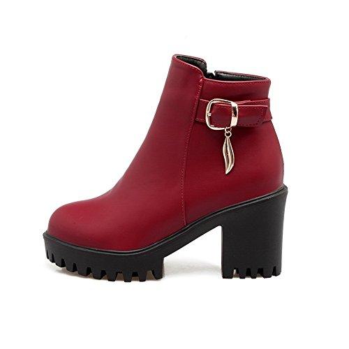 Balamasa Donna Fibbia Antiscivolo Stivali Di Uretano Solidi Abl10018 Rosso