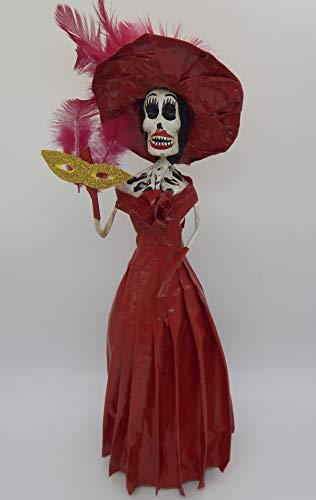 COLOR Y TRADICIÓN Mexican Catrina Doll Day of Dead Skeleton Paper Mache Dia de Los Muertos Skull Folk Art Halloween Decoration Mardi Grass # 1596]()
