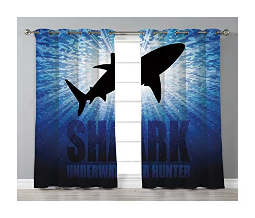 Goods247 Blackout Curtains,Grommets Panels Printed Curtains Living Room (Set of 2 Panels,42 84 Inch Length),Shark -