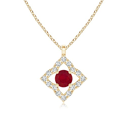 Vintage Inspired Ruby Clover Pendant in 14K Yellow Gold (3mm Ruby)