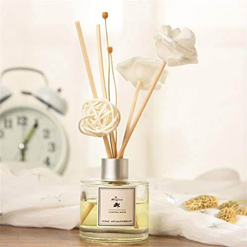 AMOFINY Home Decor Longfine/Lanfen French Fire-Free Aromatherapy Rattan Dried Flower Aromatherapy Essential Oil - Light Tulip Bouquet 20
