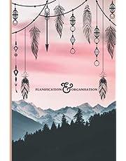 Planification & Organisation: Design féminin avec un arrière-plan de coucher de soleil et de montage - 6x9 - 100 pages - 3 mois