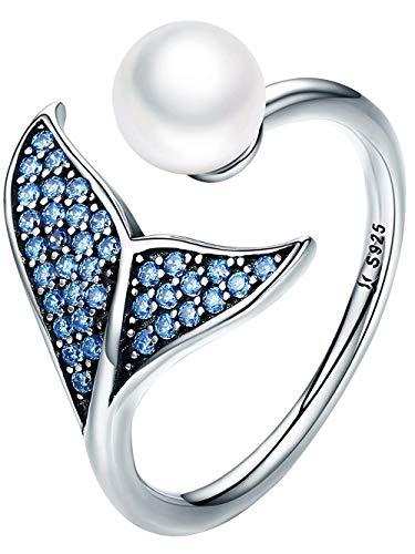 Presentski 925 Sterling Silver Cubic Zirconia Engagement Adjustable Rings,Mermaid Pearl Rings for Women -