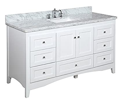 Abbey 60 Inch Single Bathroom Vanity (Carrara/White): Includes White Shaker