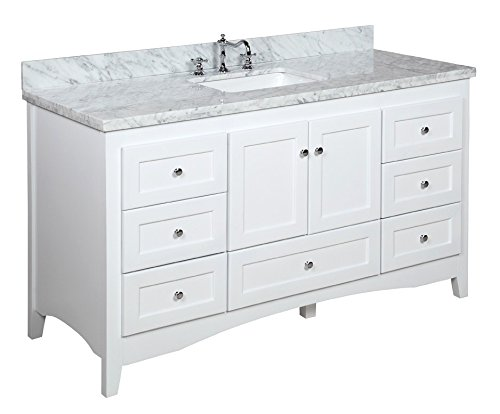 Abbey 60-inch Single Bathroom Vanity (Carrara/White): Includes White Shaker Style Cabinet with Soft Close Drawers & Doors, Italian Carrara Marble Top and Rectangular Ceramic Sink (Single Style Shaker)