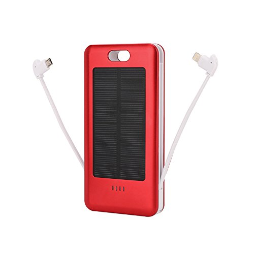 Solar Charger 10000mAh,Portable Solar Power Bank with USB 2 Dual Output Port,Built-in Lightning,Type-c, Micro USB Cable,and Strong LED Light for Smart Phones iPad iPhone Android Cellphones and more