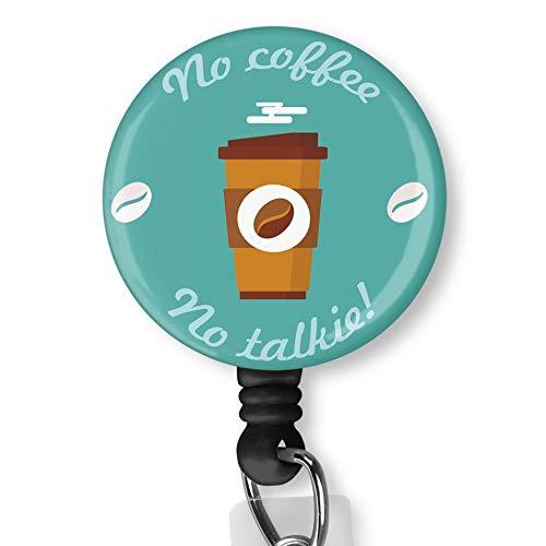No Coffee No Talkie with Alligator Clip Nurse Badge ID Card Name Tag Custom Badge Holder Nurse Decorative Badge Reel Clip on Card Holders Badge Clip