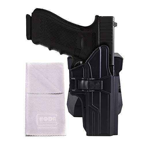 HQDA OWB Holster Fits Glock 17 22 31 G17 G22 G31 (Gen 1-5) Handgun Paddle Holster with Tactical 360° Adjustable Outside Waistband Pistol Holder, Poymer Carry Case Right Handed
