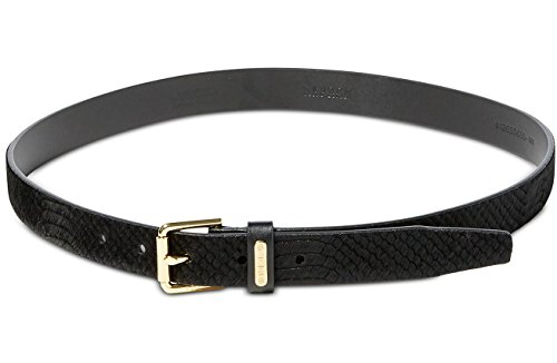 Ralph Lauren Plaque Belt (Ralph Lauren Women's Charleston Embossed Calf Hair Belt, Black (Large))