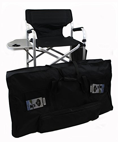 World Outdoor Products Lightweight PROFESSIONAL Tall Directors Chair with Side Table, CUSTOM ZIPPERED STORAGE CARRY BAG, Cup Holder, Footrest, Carry Handles, Side Storage Bag, Lower Level Storage Net. -