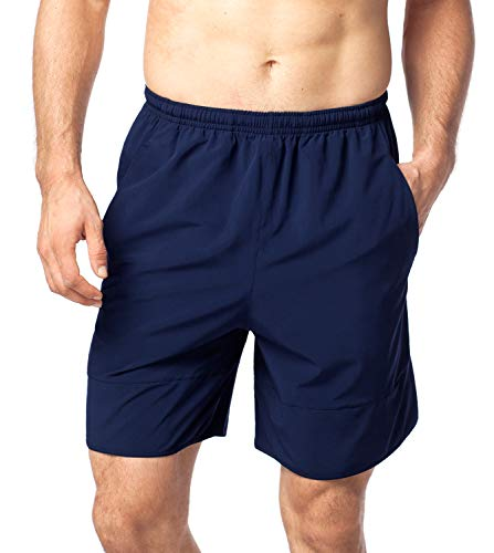 LAPASA Men's 7 inch Quick Dry Workout Running Shorts Light Weight Back Zip Pocket M28 (L, Navy) ()