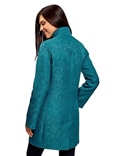 Mujer Abrigo Tejido 6c00n Texturizado de oodji Turquesa Recto Ultra Hw5qHE6
